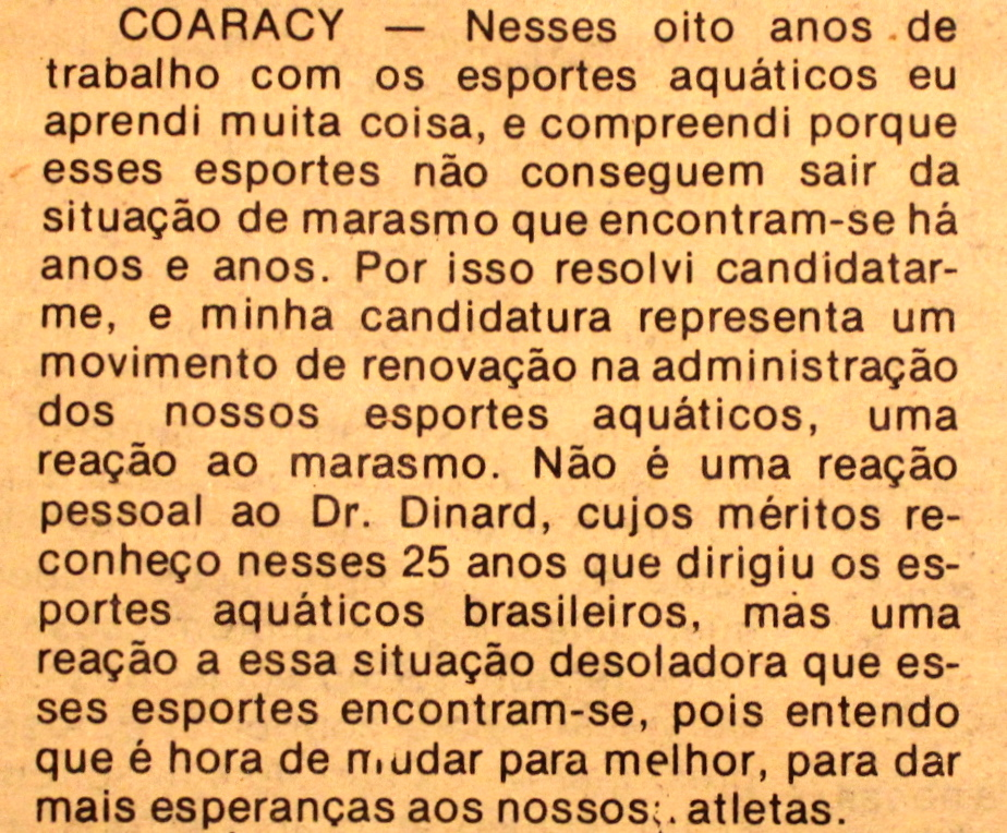 Belas palavras do nobre candidato em 1984.