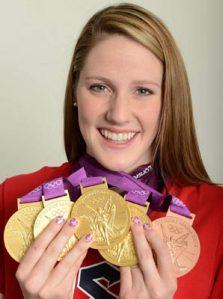 Missy Franklin com seus 4 ouros olímpicos
