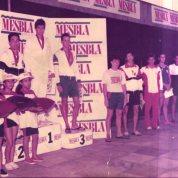 Pódium dos 200 peito Juvenil B masculino no JD de dezembro de 1987.