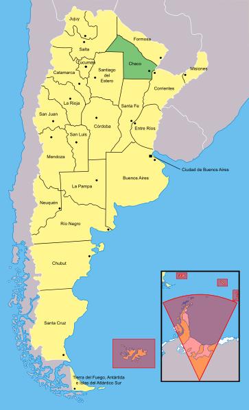 O ponto a sudeste do Chaco (em verde) identifica a localização de Resistencia. Segundo o google maps são 1278 km de Curitiba.