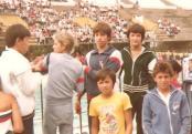 Descontração na última etapa. De costas: Rogério Yoshimoto e Alexandre Francisco. De frente: Dado Borell, eu, Ivan Ziolkowski e meu anfitrião do Esperia (alguém o conhece?)