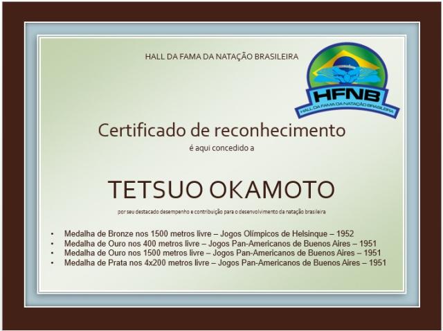Certificado Tetsuo Okamoto