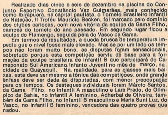 Jornal Aquática, No 13, edição de janeiro de 1983.