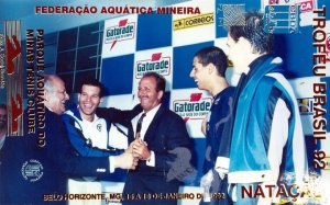 Coaracy Nunes e Bernard do vôlei, paraninfos da prova de 200m livre. Michelena badalado mas o ouro foi de Cassiano.