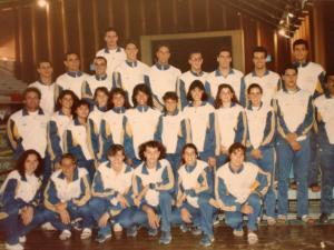 Delegação brasileira nos Jogos Panamericanos de Havana. Cassiano é aquele mais acima, Teófilo é o 4o da esquerda para direita.