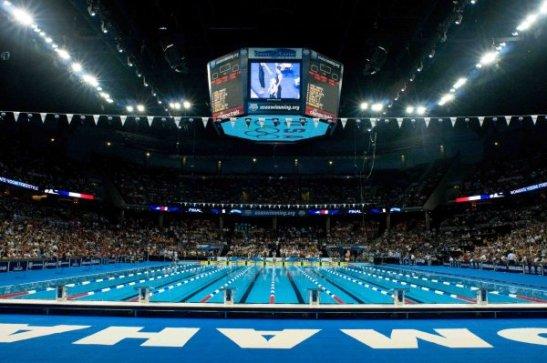 Foto da piscina onde foi realizado o Campeonato Nacional de Natação Master dos EUA em 2012, uma semana após a seletiva olímpica norte-americana (crédito: USMS)