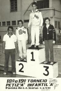 Foto do ano anterior à mudanca. Álvaro Pires, o Vreco, com o bronze em prova vencida por Alberto Oliveira seguido de Márcio Santos. Foto de Sodré.