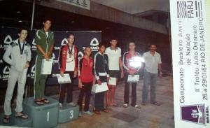 Gustavo Pinto em 6o na premiação dos 200m peito. Foto do acervo de Carlos Seda - prata nesta prova.