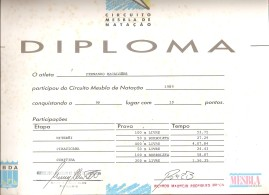 Diploma do Esmaga no Fim do Circuito Mesbla '89