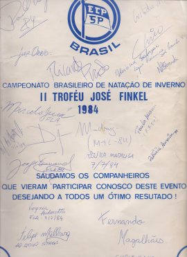 Meu programa de provas do Finkel de 84 - autógrafos de craques da nossa natação.