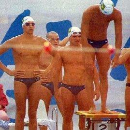 Finalistas olímpicos do 4x100L em Barcelona: Gustavo, Castor, Manú e JR, foto do FB do Castor.