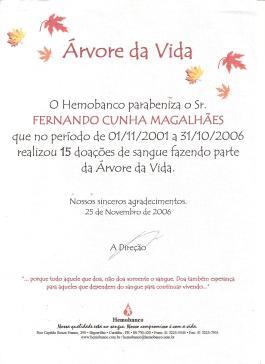 O certificado recebido em 2006