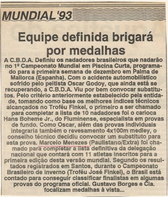 Divulgação da seleção completa, em 28/09/1993