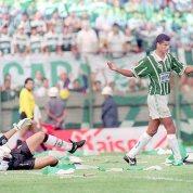 7) A final do Brasileiro de 1994, 1x1 fora o baile. Essa foi fácil, ganhamos o primeiro jogo por 3x1 com show de Rivaldo, então o segundo jogo era tranquilo. Foi no Pacaembú, 18/12/1994, fui com meu pai, a Dora e o Quinta. Lembro-me de ficar um pouco apreensivo com o gol de falta de Marcelinho logo no começo do jogo, mas a partir daí deu a lógica, empatamos e jogamos para o gasto até o título. https://www.youtube.com/watch?v=J_-ZkoE1n2c . A foto peguei aqui: http://imortaisdofutebol.com/2012/03/25/esquadrao-imortal-palmeiras-19931994/