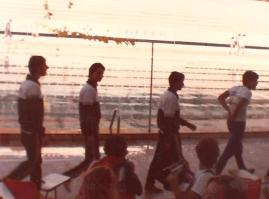 Rebollal puxando a fila seguido de Grackzyk, Fernando Magalhães e André Gomes.