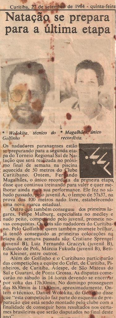 Recorte do extinto jornal Correio de Notícias.