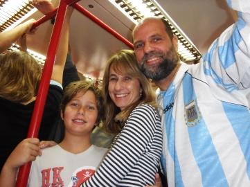 No metrô.