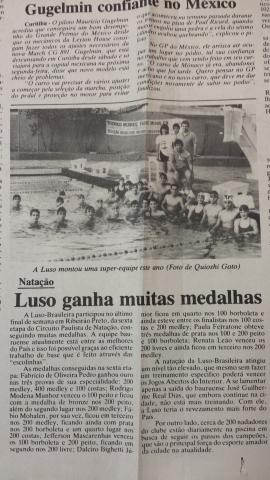 Equipe da Luso na água em 1989.