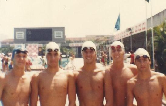 Fernando Magalhães, Renato Ramalho, Tite Clausi, Newton Kaminski e Felipe Malburg. Foto tirada com minha Kodak Ektra.