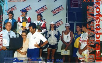 1990, Hermeto ganhando um de seus inúmeros ouros em TB. Na ocasião, bateu o RB de longa que ainda era vigente em 1993. Eu, Oscar, Munhoz e Lelo amargando diplominhas três anos antes dos fatos narrados nesse post.