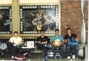 Castor, Julio, Cicero, Jorge, no aeroporto voltando do Pan de Indianápolis (1987).