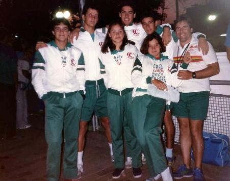 Luis Guernieri, Fernando Magalhães, Christiane Thá, Renato Ramalho, Christian Carvalho, Isabele Vieira e o técnico Leonardo Del Vescovo.