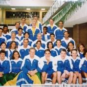Foto oficial na piscina da competição.