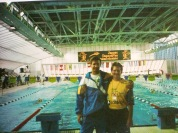 Cassiano e Alberto Klar na bela piscina coberta de Mar del Plata.