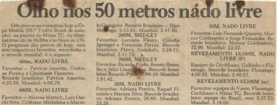 Recorte de um jornal encontrado na arquibancada ao final da competição.