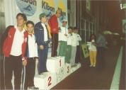 Premiação dos 200m peito. Edson Terra, Vicente, Kaminski (com agasalho da Furukawa), Hermeto, Ramalho, LAM, Cordani e Mota.