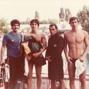 Rômulo, Chicão, Mattioli, Jorge: revezamento 4 estilos medalhista na universíade de Bucarest 1981. Foto de Luiz Carvalho.