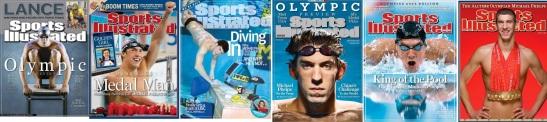 Capas da Sports Illustrated com o Phelps de 2004-2008 - evolução até o seu ápice olímpico.