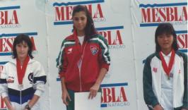 200m peito: ouro Georgiana Magalhães, prata Tatiana Vaño Minguez, bronze Elizabeth Fukuda.