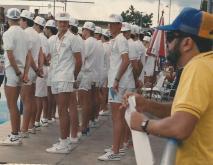 E no desfile de abertura junto com Luiz Vendrameto. Em primeiro plano, Reinaldo Souza Dias.