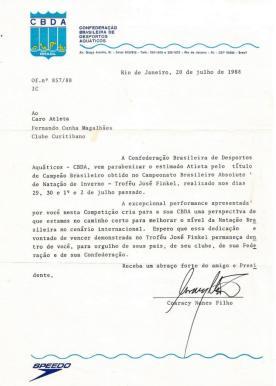 ... e a correspondência de felicitações do presidente Coaracy.