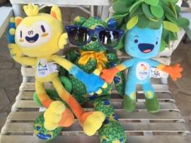 Mascotes e Luizinho preparados para os Jogos