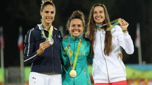 Clouvel (prata) Chloe (ouro) e Nowacka (bronze). Parabéns!