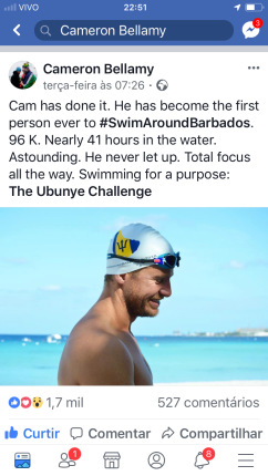 41h nadando ao redor de Barbados